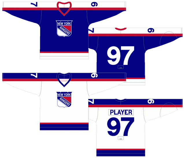 This jersey represents the only time throughout their entire existence that  the Rangers wore their primary logo on their jersey. 3124f06b1