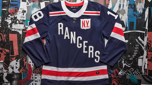 """8d9ee0d1 """"It is clean, it is retro, it is 2-D,"""" Dave Gunnarsson shared of the mask,  """"a total retro design all built on the awesome New York Rangers' Winter  Classic ..."""