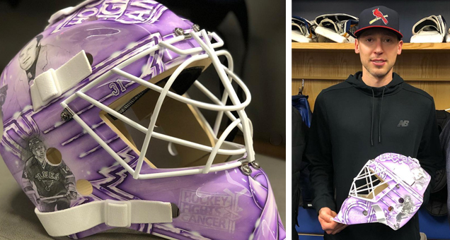3d7a03b13 Also taking a personal approach with his Hockey Fights Cancer mask