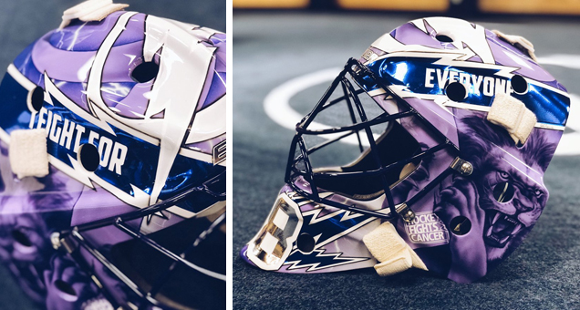 e0e8fceec Domingue s fellow Tampa Bay netminder Andrei Vasilevskiy also commissioned  a special mask for Hockey Fights Cancer night